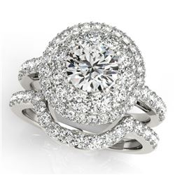 2.55 CTW Certified VS/SI Diamond 2Pc Wedding Set Solitaire Halo 14K White Gold - REF-455N6Y - 30936