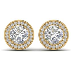 1.85 CTW I-SI Diamond Solitaire Art Deco Micro Stud Halo Earrings 14K Yellow Gold - REF-327X3T - 303