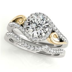 0.95 CTW Certified VS/SI Diamond 2Pc Set Solitaire Halo 14K White & Yellow Gold - REF-130N2Y - 31200