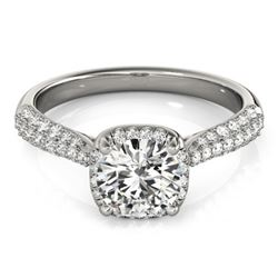 1.5 CTW Certified VS/SI Diamond Solitaire Halo Ring 18K White Gold - REF-389H5W - 26167