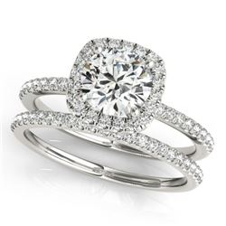 1.45 CTW Certified VS/SI Diamond 2Pc Wedding Set Solitaire Halo 14K White Gold - REF-374R4K - 30660