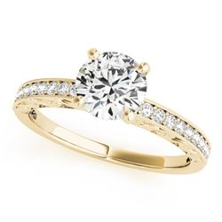 0.50 CTW Certified VS/SI Diamond Solitaire Micro Pave Ring 18K Yellow Gold - REF-72H4W - 27242