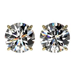 3 CTW Certified H-SI/I Quality Diamond Solitaire Stud Earrings 10K Yellow Gold - REF-623X3T - 33122