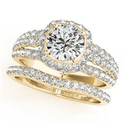 1.94 CTW Certified VS/SI Diamond 2Pc Wedding Set Solitaire Halo 14K Yellow Gold - REF-254F5M - 31141