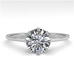 1.01 CTW Certified VS/SI Diamond Engagement Ring 18K White Gold - REF-286W3H - 35742