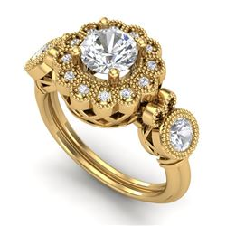 1.5 CTW VS/SI Diamond Solitaire Art Deco 3 Stone Ring 18K Yellow Gold - REF-300M2F - 37060