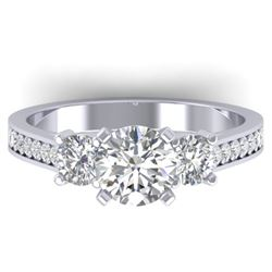 1.75 CTW Certified VS/SI Diamond 3 Stone Ring 14K White Gold - REF-389K8R - 30387