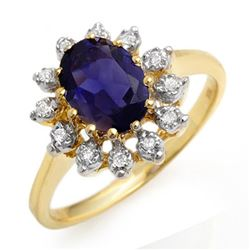 1.22 CTW Iolite & Diamond Ring 10K Yellow Gold - REF-30R5K - 11604