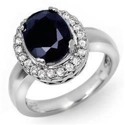 4.65 CTW Blue Sapphire & Diamond Ring 10K White Gold - REF-52R9K - 11901