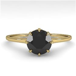 1.0 CTW Black Diamond Solitaire Engagement Ring Vintage Design 18K Yellow Gold - REF-50W9H - 35746