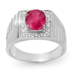 3.25 CTW Pink Sapphire & Diamond Mens Ring 10K White Gold - REF-62N9Y - 13420