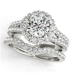2.08 CTW Certified VS/SI Diamond 2Pc Wedding Set Solitaire Halo 14K White Gold - REF-262X2T - 31094
