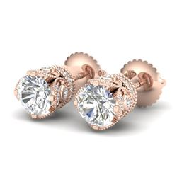 1.85 CTW VS/SI Diamond Solitaire Art Deco Stud Earrings 18K Rose Gold - REF-234K5R - 36858