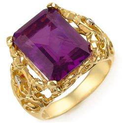 8.03 CTW Amethyst & Diamond Ring 10K Yellow Gold - REF-34F4M - 10916