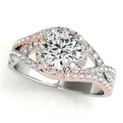 1.5 CTW Certified VS/SI Diamond Solitaire Halo Ring 18K White & Rose Gold - REF-416R9K - 26613