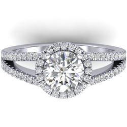 2 CTW Certified VS/SI Diamond Solitaire Micro Halo Ring 14K White Gold - REF-512K2R - 30378