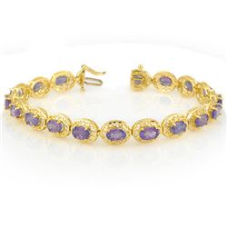 18.0 CTW Tanzanite Bracelet 10K Yellow Gold - REF-121M8F - 11329