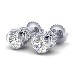 1.85 CTW VS/SI Diamond Solitaire Art Deco Stud Earrings 18K White Gold - REF-234X5T - 36857