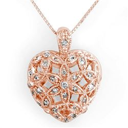 0.70 CTW Certified VS/SI Diamond Necklace 14K Rose Gold - REF-88M2F - 11573