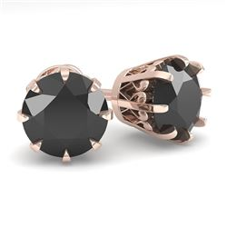 3.0 CTW Black Diamond Stud Solitaire Earrings 18K Rose Gold - REF-100M2F - 35702