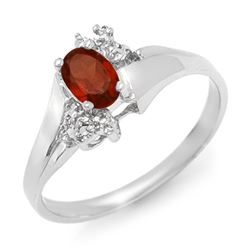 0.52 CTW Garnet & Diamond Ring 18K White Gold - REF-30R9K - 12370