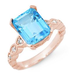 5.25 CTW Blue Topaz & Diamond Ring 10K Rose Gold - REF-33R8K - 10583