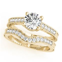 1.47 CTW Certified VS/SI Diamond Solitaire 2Pc Wedding Set Antique 14K Yellow Gold - REF-392F2M - 31