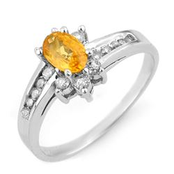 1.05 CTW Yellow Sapphire & Diamond Ring 14K White Gold - REF-41K3R - 13933