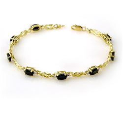 5.32 CTW Blue Sapphire & Diamond Bracelet 10K Yellow Gold - REF-34T9X - 13898