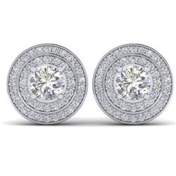 1.45 CTW I-SI Diamond Solitaire Art Deco Halo Stud Earrings 14K White Gold - REF-126H2W - 30366