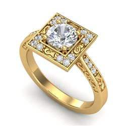1.1 CTW VS/SI Diamond Art Deco Ring 18K Yellow Gold - REF-180W2H - 37267