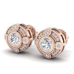 1.5 CTW VS/SI Diamond Solitaire Art Deco Stud Earrings 18K Rose Gold - REF-263F6M - 36981