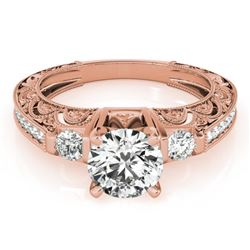 0.91 CTW Certified VS/SI Diamond Solitaire Antique Ring 18K Rose Gold - REF-134Y5N - 27277