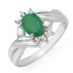 0.90 CTW Emerald & Diamond Ring 18K White Gold - REF-30F8M - 14332