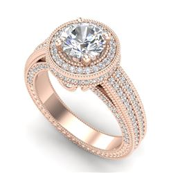 2.8 CTW VS/SI Diamond Solitaire Art Deco Ring 18K Rose Gold - REF-527W3H - 37137