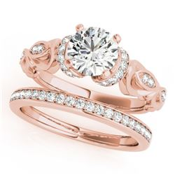 0.95 CTW Certified VS/SI Diamond Solitaire 2Pc Wedding Set Antique 14K Rose Gold - REF-142R9K - 3147