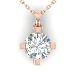 1 CTW Certified VS/SI Diamond Solitaire Necklace 14K Rose Gold - REF-270X3T - 30403