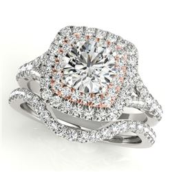 1.67 CTW Certified VS/SI Diamond 2Pc Set Solitaire Halo 14K White & Rose Gold - REF-235W3H - 30698