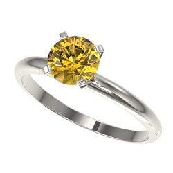 1.01 CTW Certified Intense Yellow SI Diamond Solitaire Engagement Ring 10K White Gold - REF-136M4F -