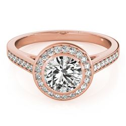 1.3 CTW Certified VS/SI Diamond Solitaire Halo Ring 18K Rose Gold - REF-385N3Y - 26417