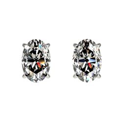 1 CTW Certified VS/SI Quality Oval Diamond Solitaire Stud Earrings 10K White Gold - REF-143X6T - 330