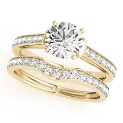1.83 CTW Certified VS/SI Diamond Solitaire 2Pc Wedding Set 14K Yellow Gold - REF-400M9F - 31642