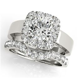 1.8 CTW Certified VS/SI Diamond 2Pc Wedding Set Solitaire Halo 14K White Gold - REF-265W3H - 31226