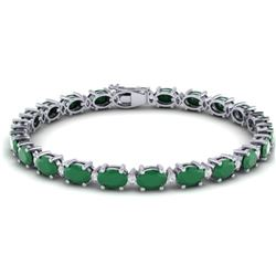 30.8 CTW Emerald & VS/SI Certified Diamond Eternity Bracelet 10K White Gold - REF-187R3K - 29450
