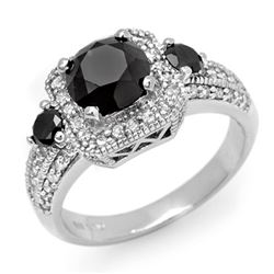 2.60 CTW Vs Certified Black & White Diamond Ring 14K White Gold - REF-110K4R - 13471