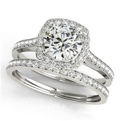 1.12 CTW Certified VS/SI Diamond 2Pc Wedding Set Solitaire Halo 14K White Gold - REF-135W3H - 31211