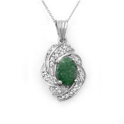 3.17 CTW Emerald & Diamond Pendant 18K White Gold - REF-90K9R - 13132