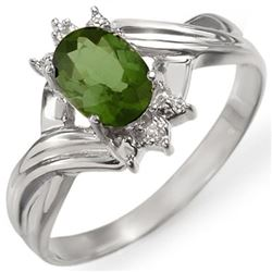 0.79 CTW Green Tourmaline & Diamond Ring 18K White Gold - REF-30W5H - 11597