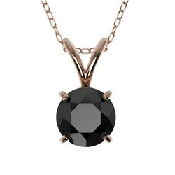 0.75 CTW Fancy Black VS Diamond Solitaire Necklace 10K Rose Gold - REF-27M3F - 33176