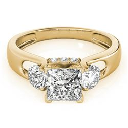 1.35 CTW Certified VS/SI Princess Cut Diamond 3 Stone Ring 18K Yellow Gold - REF-238H2W - 28034